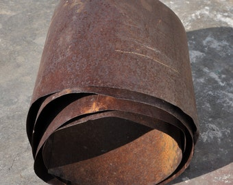 Antique rusty sheet metal roll. 28 guage 10 inch x 10 ft.