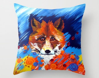 prints of foxes, gift with foxes, fox art, fox print, fox, foxes, fox painting, fox design, pillow case, pillow cover, throw pillow, bright