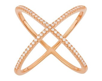 925 Sterling Silver Rose-Gold-Electroplated CZ Criss Cross X Ring Micro PAVE