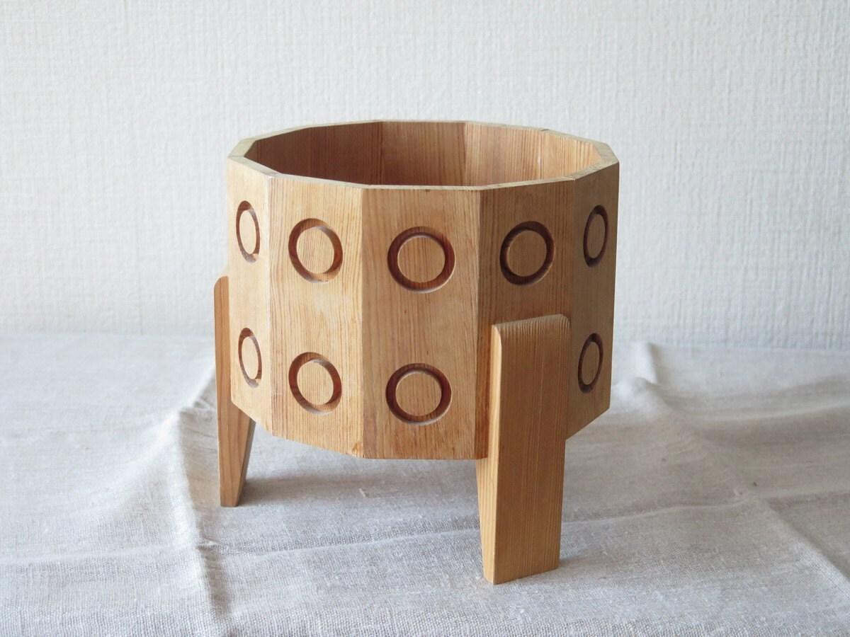 scandinave vintage sur pied bois bol plat cache pot milieu du. Black Bedroom Furniture Sets. Home Design Ideas