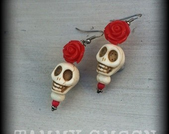 Skull and rose earrings Day of the Dead 'Catorina' Large Bone White Howlite stone skull and Blood red rose earrings Los Muertos