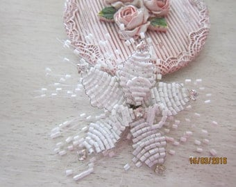 1 Pieces- Beaded Flower Embellishment/NEB93 Bridal head Pieces/ Accessories/ Jewelry/Head Piece/Brooch