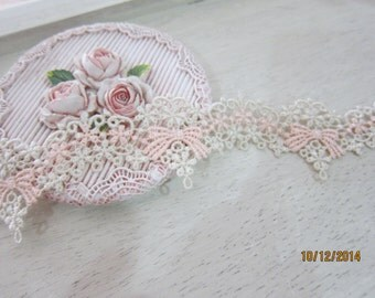 1yard-Embroidered Fancy Lace Trim/NT73-Shabby Chic 2 tone cColor Trim/Delictae Lace Trim/Venice Lace
