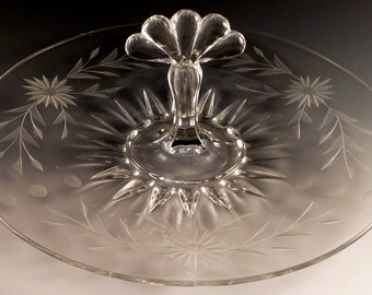 New Martinsville Teardrop Depression Glass Center Handled Server CHS Cut Crystal Sandwich Tray Glassware Vintage Authentic