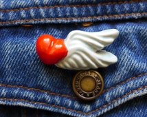 Heart Wing Pin, Heart Shape Brooch, Vintage Heart Pin with Wing, 70s Vintage Jewelry, Cartoon like, Ceramic Small Jacket Pin