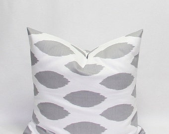 SALE Grey Pillows Gray Pillows Ikat Pillows 20 x 20 Inches Decorative Throw Pillow Covers Chipper Storm Grey/Gray