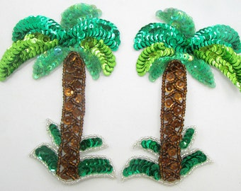 "Palm Tree Pair Appliqué Sequined Beaded  4.5"" x 3""  -S1642"