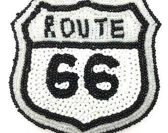 "Route 66 Road Sign Appliqué, Sequin Beaded 4"" x 3.5"" -JJ957-B262"