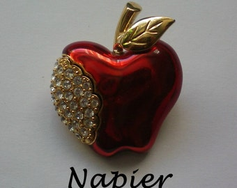 Napier Red Apple Pin with Rhinestones - 4486