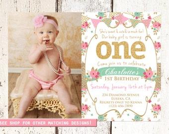 1st Birthday invite First birthday invitation Baby girl