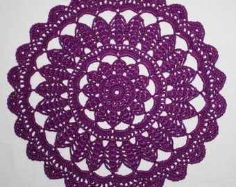 Purple Crochet Doily, Small Crochet Doily, Round Lace Doily, Dresser Doily, Cotton Doily, Сrochet Сenterpiece, Table Topper, 9 inches