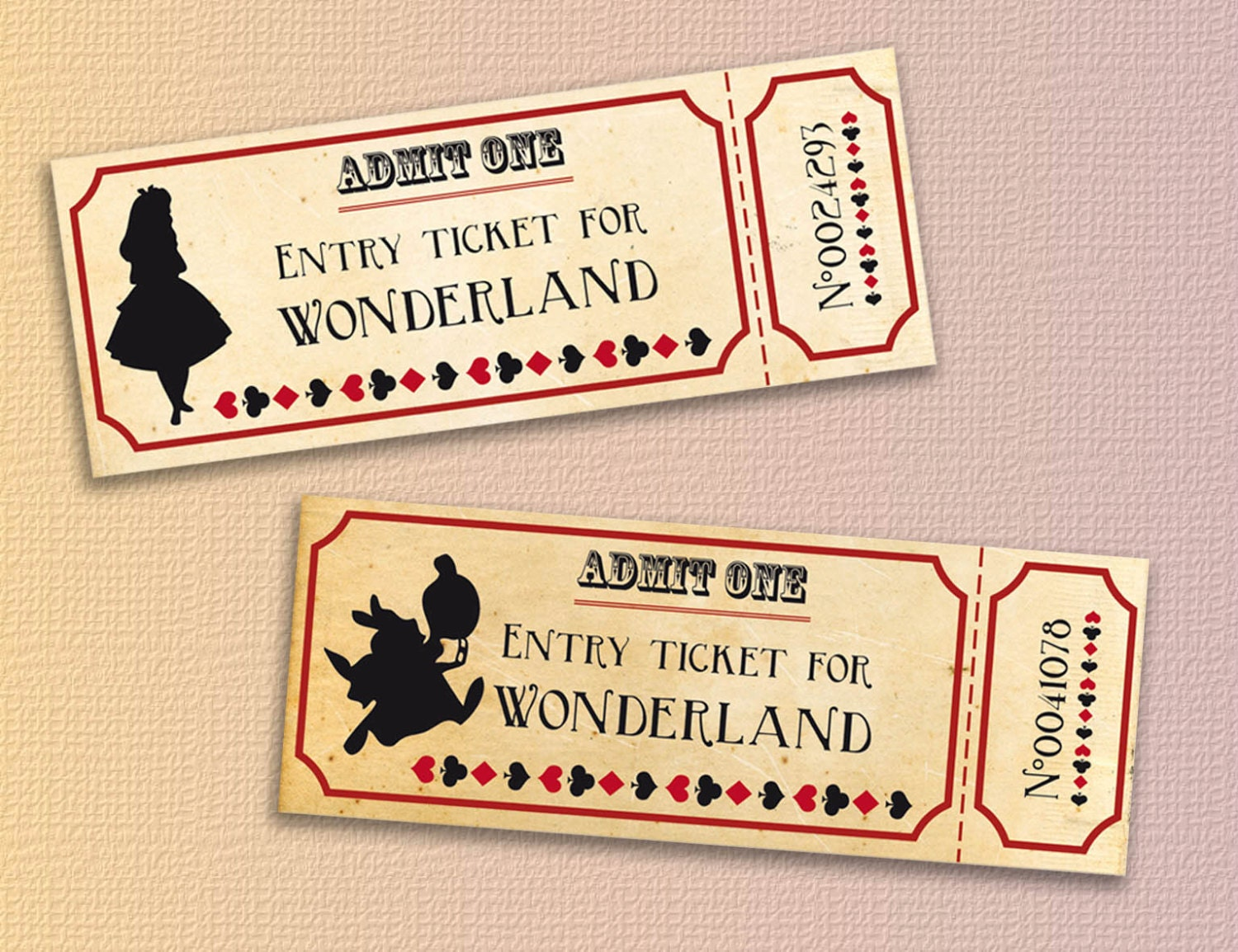 Alice in wonderland tickets printable - Instant download