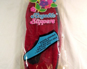 Huggable Women's Slippers NIP Vintage Rubber Vinyl Soles, Sears Acrylic, Size 7 1/2 - 8, Camping , Beach, Non Skid, Institutions Hugable