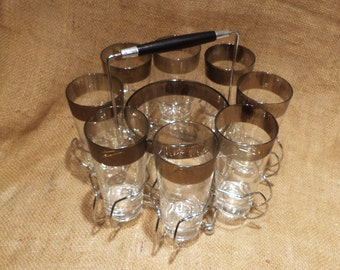 Dorothy Thorpe Silver Highball Glasses, Set of 8, Original Stainless Steel Carrier, Glass Ice Bucket