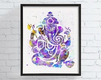 Ganesh Watercolor Art Print, Ganesh Painting, Ganesh Poster, Spiritual Art, Zen Decor, Zen Painting, Yoga Art, Hindu Art, Elephant
