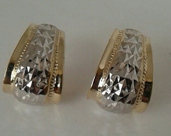 Two Tone Earrings 14K Solid Gold