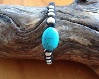 Handmade Hemp Friendship Bracelet/Wristband with Central Turquoise Bead