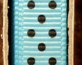 "2 Yards 3/8"" Swiss Dots - Blue with Black Swiss Dots Grosgrain Print Ribbon"