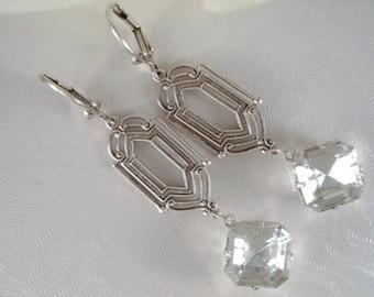 Clear Rhinestones Earrings Gatsby Inspired