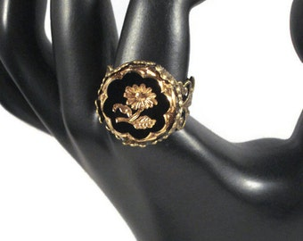 Button Ring * Flower *  Glass * Adjustable * Repurposed Vintage Button * Antique Bronze * Women's Jewelry