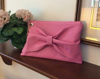 Pink Leather Clutch Handbag with Bow