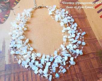 Moonstone Opalite Multistrand Necklace Glass Seed Beads Raw Gemstone Floating Crochet Invisible Necklace Statement Air Healing Crystal Stone