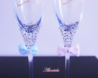 Wedding Brilliant  Champagne Flutes, Defined Groom and Bride Glasses,Swarovski Wedding Flutes,Swarovski Wedding Glasses