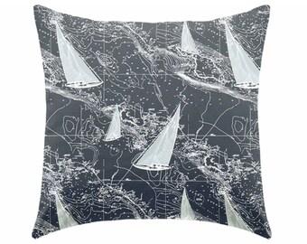 Decorative pillow, throw pillow, toss pillow, indigo pillow, coastal pillow, blue pillow, boy pillow, nautical pillow
