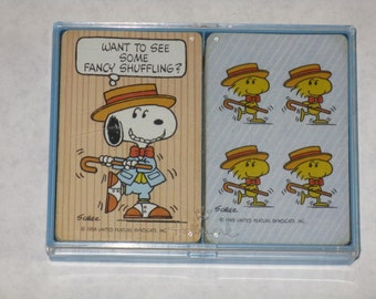 Vintage Snoopy & Woodstock playing card decks Peanuts 1958 and 1965 Hallmark