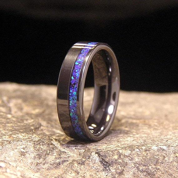 Blue Amethyst Lab Opal Wide Offset Inlay Black Zirconium