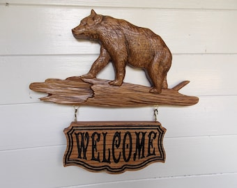 Personalized Wood Wall Art bear sign | etsy
