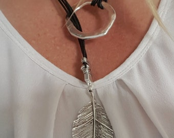 long black feather necklace