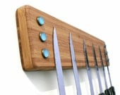 Magnetic Knife Holder, Eco-Friendly, Wall Mount with Blue Vintage Glass Dots