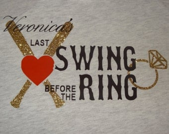 Bachelorette Party Last Swing Before the Ring Glitter Bat Racerback Tank Top
