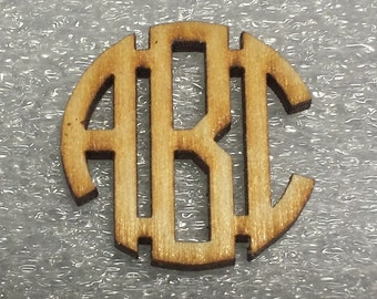 14 inch Wooden Laser Cut Circle Connected Monogram