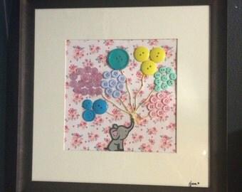 Baby Elephant - Balloons - Girls Room - Nursery Decor - Button Art - Pink Flowers - Floral Decor