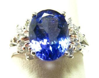 2.6 Carat Tanzanite + Diamond Ring in 14k White Gold Size 6.5