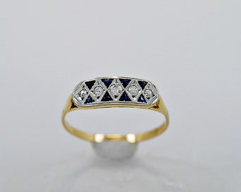 Antique Wedding Band .25ct. T.W. Sapphire, Diamond, Platinum & Gold - J35848