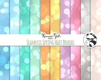 Seamless Spring Hues Bokeh Digital Paper Set - Personal & Commercial Use