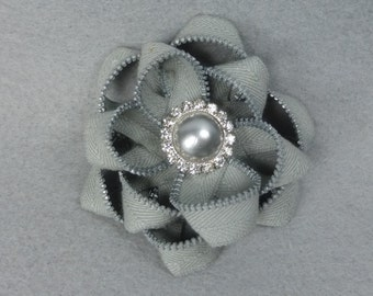 Gray Flower Pin - Upcycled - Recycled - Repurposed - Flower Brooch - Zipper Brooch - Zipper Pin - Zipper Flower - Flower Pin - Jewelry
