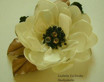 Handmade white satin flower brooch, flower pin, embroidered flower