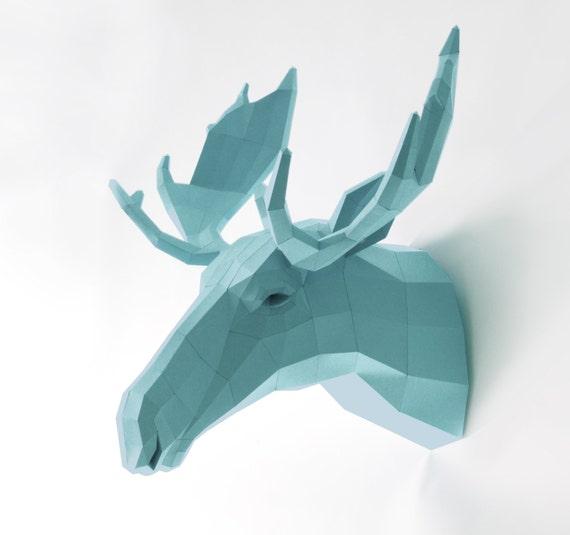 Fake Trophy Moose / Elk, Wall trophy Moose, Sweden fan, Papercraft Template