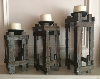 Set of 3 Shabby Chic Candle Holders