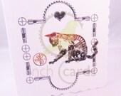 Steampunk Cat with Ball Blank Card, Cat Card, Kitten Card, Steampunk Card, UK