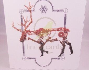 Steampunk Reindeer Christmas Blank Card, Steampunk Christmas Card, Reindeer Card, UK