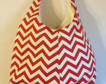 Crossbody Slouch Bag Red Chevron