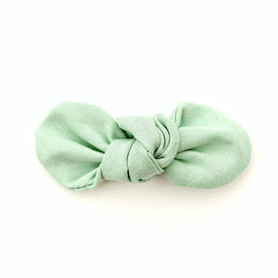 Seafoam Fabric Bow : Knotty Gal Style on a Clip or Nylon Headband  // Machine Washable