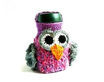 Crochet Bottle Cover, Crochet OWL Case, Cozy,