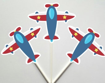 Airplane Cupcake Toppers, Plane Cupcake Toppers, Red, Blue Grey