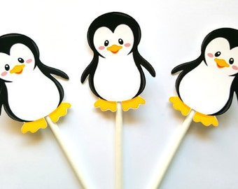 Penguin Cupcake Toppers, Winter ONEderland Cupcake Toppers, Penguin Birthday Cupcake Toppers